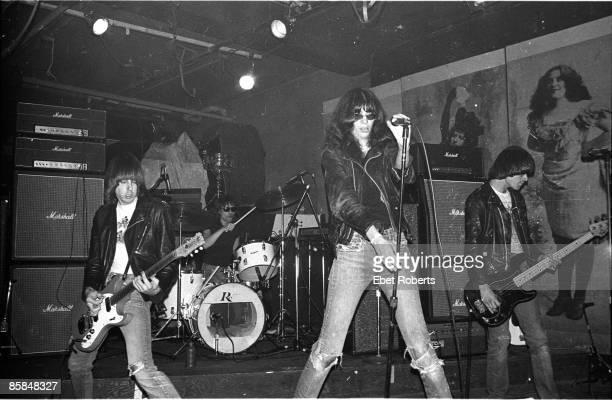 Dee Dee RAMONE and RAMONES and Johnny RAMONE and Johnny RAMONE, L-R. Johnny Ramone, Tommy Ramone , Joey Ramone, Dee Dee Ramone