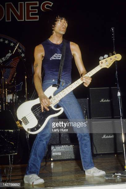 Dee Dee Ramone performing with 'the Ramones' at the University of California in Stockton California Circa January 1 1985