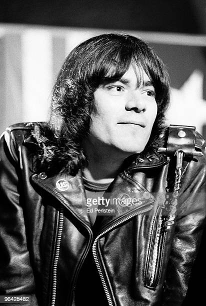 Dee Dee Ramone poses backstage at the Old Waldorf club in January 1978 in San Francisco California
