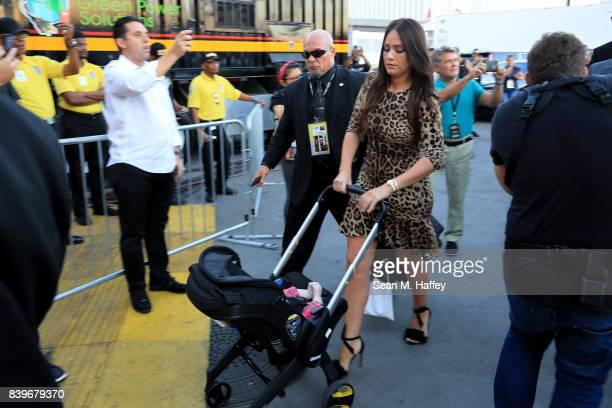 Dee Devlin arrives for the super welterweight boxing match between Floyd Mayweather Jr and Conor McGregor on August 26 2017 at TMobile Arena in Las...