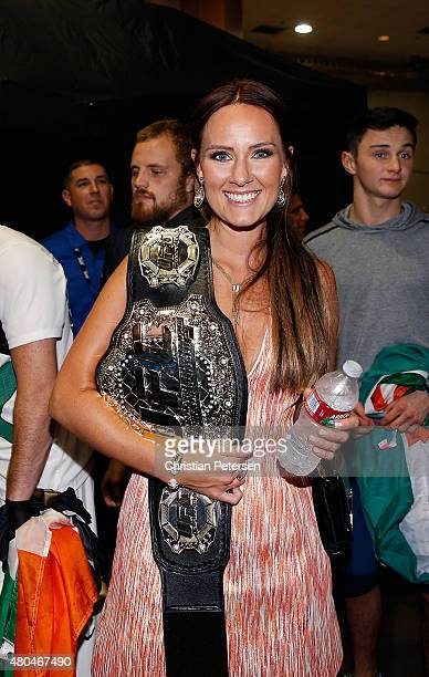 Dee Devlin backstage during the UFC 189 event inside MGM Grand Garden Arena on July 11 2015 in Las Vegas Nevada