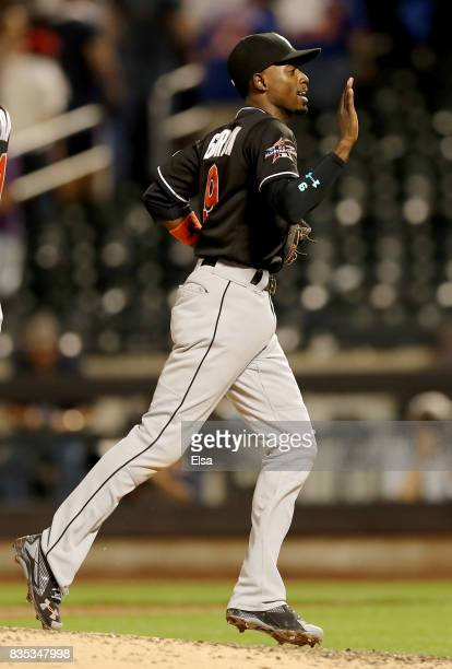 Dee Gordon of the Miami Marlins celebrates the 31 win over the New York Mets on August 18 2017 at Citi Field in the Flushing neighborhood of the...