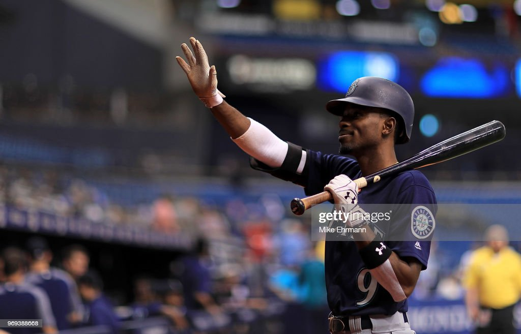 Dee Gordon #9 of the Seattle Mariners looks on during a game against the Tampa Bay Rays at Tropicana Field on June 7, 2018 in St Petersburg, Florida.