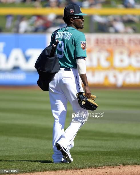 Dee Gordon of the Seattle Mariners looks on during the game against the Chicago White Sox on February 24 2018 at the Peoria Sports Complex in Peoria...