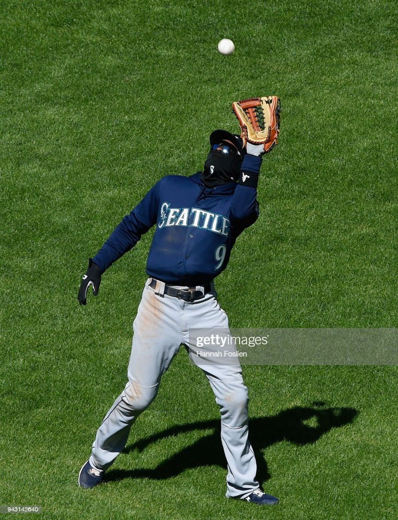 Dee Gordon #9 of the Seattle Mariners makes a catch in center field of the ball hit by Byron Buxton #25 of the Minnesota Twins during the sixth inning of the game on April 7, 2018 at Target Field in Minneapolis, Minnesota. The Mariners defeated the Twins 11-4.