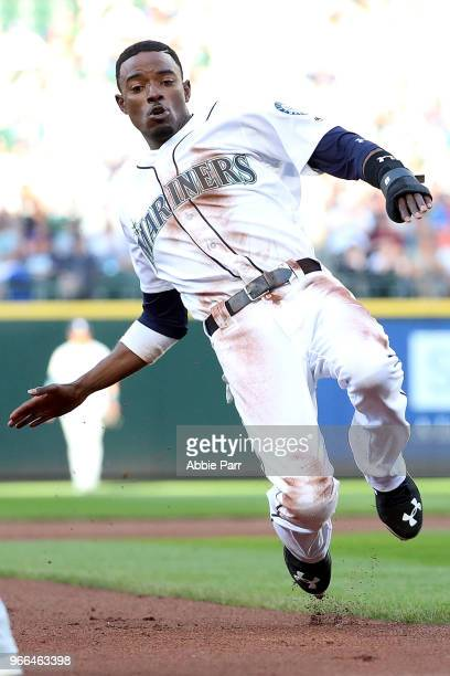 Dee Gordon of the Seattle Mariners slides into third in the first inning against the Tampa Bay Rays during their game at Safeco Field on June 2 2018...