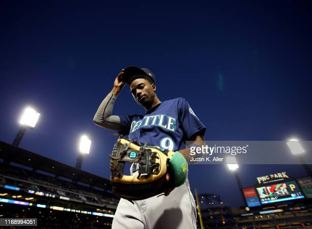 Dee Gordon of the Seattle Mariners walks off the field against the Pittsburgh Pirates during inter-league play at PNC Park on September 17, 2019 in...