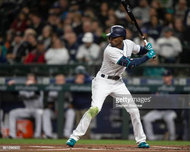 Dee Gordon waits for a pitch during an atbat in a game against the Houston Astros at Safeco Field on April 18 2018 in Seattle Washington The Astros...