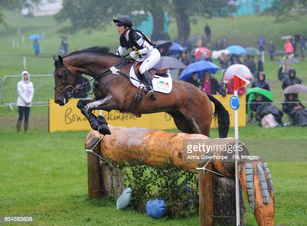 Dee Hankey riding Chequers Playboy competes in the CIC3* cross country event during the Bramham International Horse Trials at Bramham Park West...