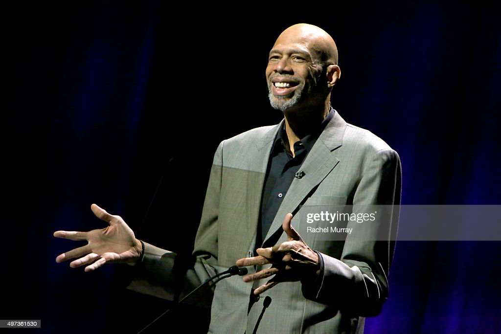 Dee Kareem Abdul-Jabbar speaks onstage during the Thelonious Monk Institute International Jazz Vocals Competition 2015 at Dolby Theatre on November 15, 2015 in Hollywood, California.