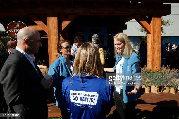 Dee Lawrence founder of nonprofit Cool Effect speaks with attendees at Dreamforce on November 7 2017 in San Francisco California Lawerence attended...