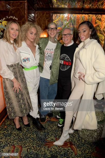Dee Ocleppo Jasmine Saunders Ricky Hill Tommy Hilfiger and Winnie Harlow attend the TOMMYNOW after party at Annabels on February 16 2020 in London...