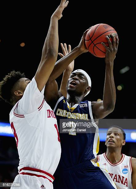 Dee Oldham of the Chattanooga Mocs is fouled by Juwan Morgan of the Indiana Hoosiers in the first half during the first round of the 2016 NCAA Men's...