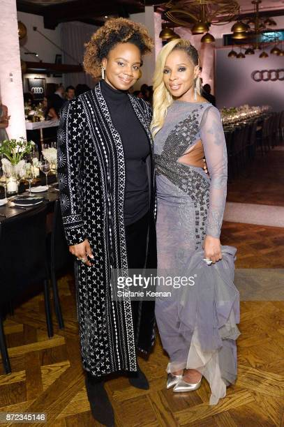 Dee Rees and Mary J Blige attend Audi Hosts Opening Night Dinner For AFI Netflix 'Mudbound' at Hollywood Roosevelt Hotel on November 9 2017 in...