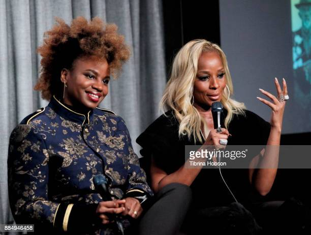 Dee Rees and Mary J Blige attend SAGAFTRA Foundation's conversations and screening of 'Mudbound' at SAGAFTRA Foundation Screening Room on December 2...