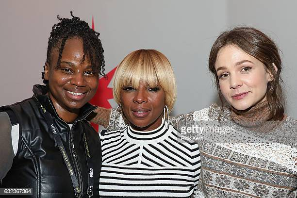 Dee Rees Mary J Blige and Carey Mulligan at the 'Mudbound' party in the Stella Artois Filmmaker Lounge during the Sundance Film Festival on January...