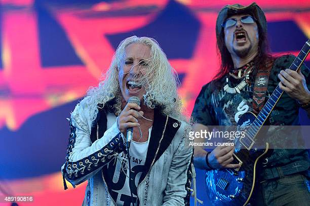 Dee Snider and Rafael Bittencourt from Angra Dee Snider Doro Pesch performs at 2015 Rock in Rio on September 19 2015 in Rio de Janeiro Brazil