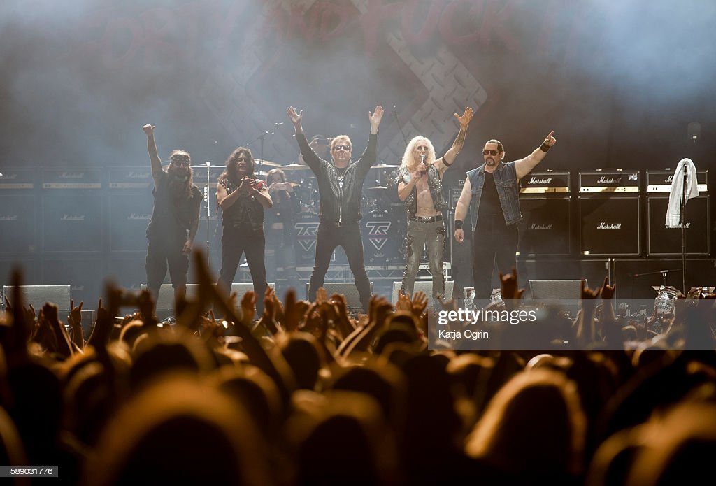 Dee Snider, Eddie Ojeda, Jay Jay French, Mike Mendoza and Mike Portnoy of Twisted Sister saying their final goodbye to UK on stage at Bloodstock Festival at Catton Park on August 12, 2016 in Burton upon Trent, England.