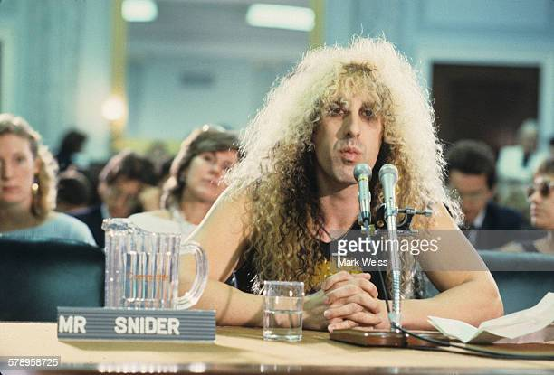 Dee Snider of American metal band Twisted Sister appears at the PMRC senate hearing at Capitol Hill Washington DC United States 19th September 1985...