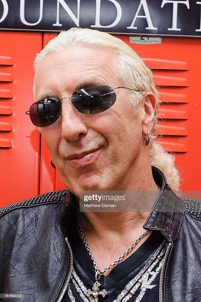 Dee Snider of the band Twisted Sister poses for a photo backstage at the Electrify Your Music Foundation launch event at Brooklyn Technical High School Theater on April 26, 2013 in the Brooklyn borough of New York City.