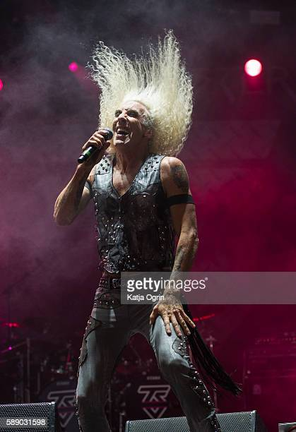 Dee Snider of Twisted Sister performs live on stage for the last time ever in the UK at Bloodstock Festival at Catton Park on August 12 2016 in...