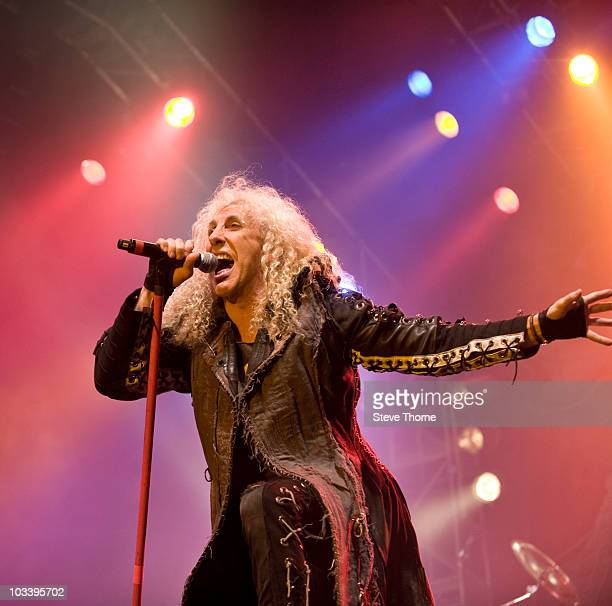 Dee Snider of Twisted Sister performs on stage at Bloodstock Open Air Metal Festival at Catton Hall on August 15 2010 in Derby England