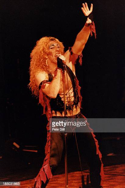 Dee Snider of Twisted Sister performs on stage at the Lyceum Theatre in the Strand on April 19th 1983 in London England