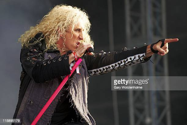 Dee Snider of Twisted Sister performs on stage during the second day of Download Festival at Donnington Park on June 11 2011 in Donnington United...