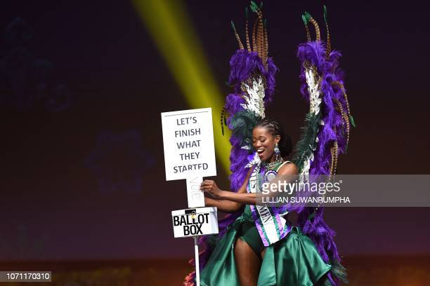 DeeAnn KentishRogers Miss Great Britain 2018 walks on stage during the 2018 Miss Universe national costume presentation in Chonburi province on...