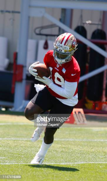 Deebo Samuel of the San Francisco 49ers goes through drills during the 49ers Rookie Camp at the SAP Performance Facility on May 3 2019 in Santa Clara...