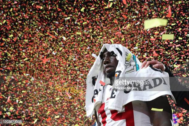 Deebo Samuel of the San Francisco 49ers reacts after losing to the Kansas City Chiefs 3120 in Super Bowl LIV at Hard Rock Stadium on February 02 2020...