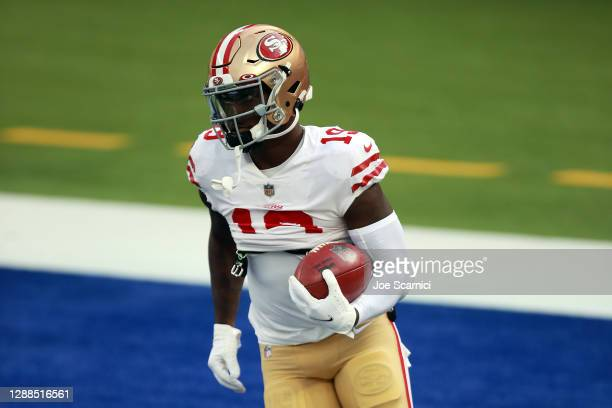 Deebo Samuel of the San Francisco 49ers warms up before the game against the Los Angeles Rams at SoFi Stadium on November 29, 2020 in Inglewood,...