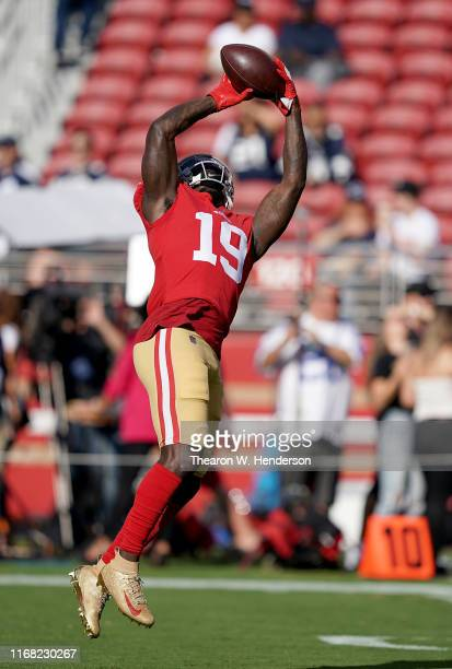 Deebo Samuel of the San Francisco 49ers warms up during pregame warm ups prior to the start of an NFL preseason football game against the Dallas...