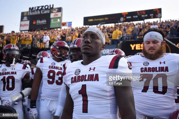 Deebo Samuel of the South Carolina Gamecocks waits to take to the field against the Missouri Tigers at Memorial Stadium on September 9 2017 in...