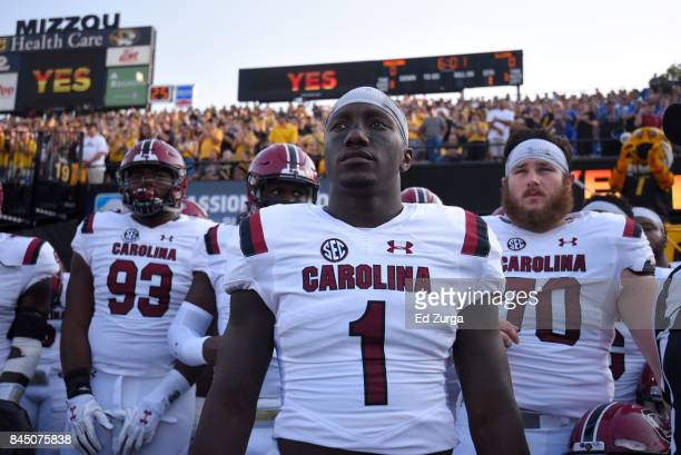 Deebo Samuel of the South Carolina Gamecocks waits with teammate to take to the field prior to a game against the Missouri Tigers in the first...
