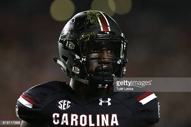 Deebo Samuel of the South Carolina Gamecocks watches on from the field against the Tennessee Volunteers during their game at WilliamsBrice Stadium on...