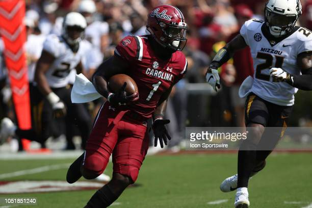 Deebo Samuel wide receiver of South Carolina on a punt return during a college football game between the Missouri Tigers and the South Carolina...