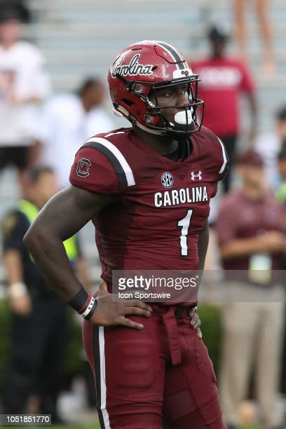 Deebo Samuel wide receiver of South Carolina waits on a punt during a college football game between the Missouri Tigers and the South Carolina...