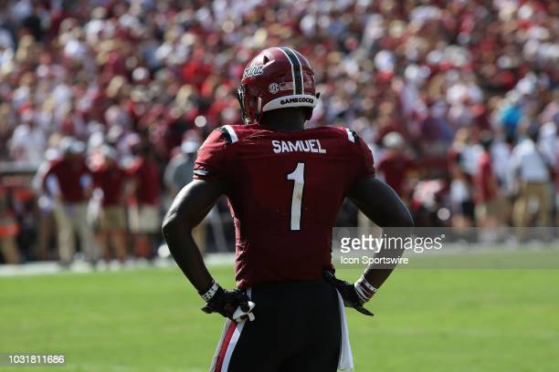 Deebo Samuel wide receiver The University of South Carolina looks to the sideline for the next play during action between Georgia and South Carolina...