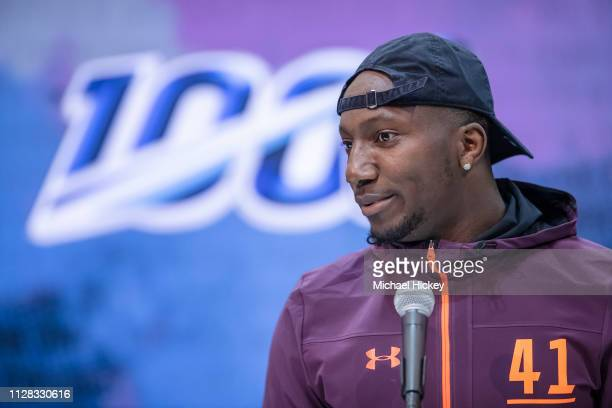 Deebo Samuel #WO41 of the South Carolina Gamecocks is seen at the 2019 NFL Combine at Lucas Oil Stadium on March 1 2019 in Indianapolis Indiana