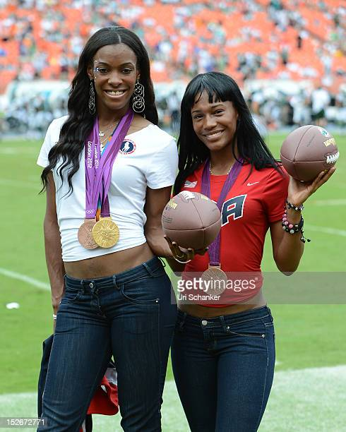 DeeDee Trotter and Kellie Wells attend Miami Dolphins VS NY jets game at Sunlife Stadium on September 23 2012 in Miami Florida