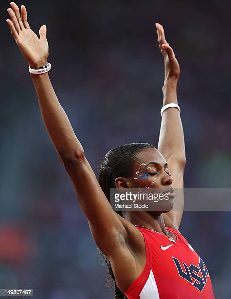 DeeDee Trotter of the United States celebaes after competing in the Women's 400m Semi Final on Day 8 of the London 2012 Olympic Games at Olympic...