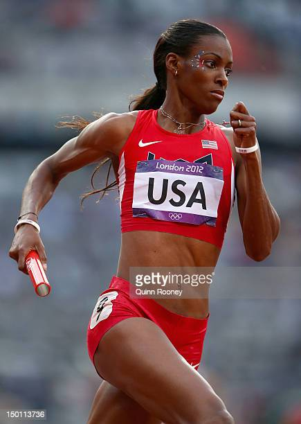 DeeDee Trotter of the United States competes during the Women's 4 x 400m Relay Round 1 heats on Day 14 of the London 2012 Olympic Games at Olympic...