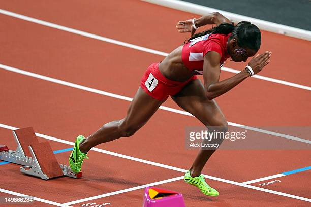 DeeDee Trotter of the United States leaves the blocks in the Women's 400m Final on Day 9 of the London 2012 Olympic Games at the Olympic Stadium on...
