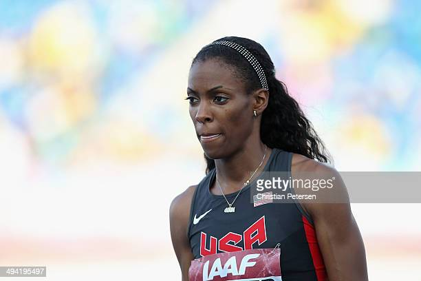 Deedee Trotter prepares to compete in the Women's 4x400 metres relay final during day two of the IAAF World Relays at the Thomas Robinson Stadium on...