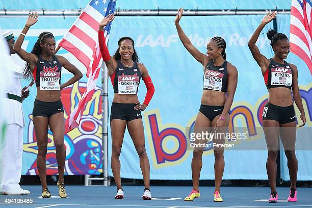 Deedee Trotter Sanya RichardsRoss Natasha Hastings and Joanna Atkins of the United States are introduced to the Women's 4x400 metres relay final...