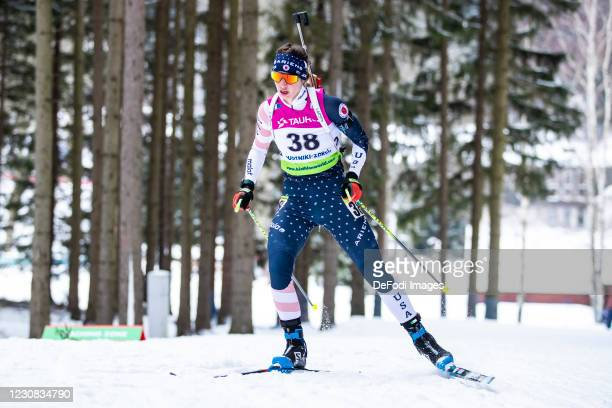 Deedra Irwin of USA in action competes during the Women 15 km Individual Competition at the IBU Open European Championships Duszniki Zdroj at on...