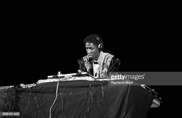 Deejay Grandmaster Flash from Grandmaster Flash and The Furious Five performs at the UIC Pavilion in Chicago Illinois in January 1985