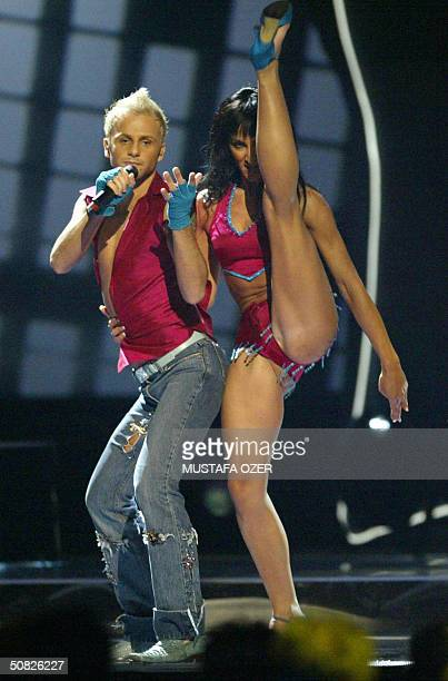Deen of Bosnia Herzegovina rehearses with his dancer for the semifinals of the 49th Eurovision Song Contest to be held between 1215 May in Istanbul...