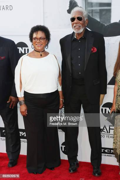 Deena Adair and actor Morgan Freeman arrive at American Film Institute's 45th Life Achievement Award Gala Tribute to Diane Keaton at Dolby Theatre on...